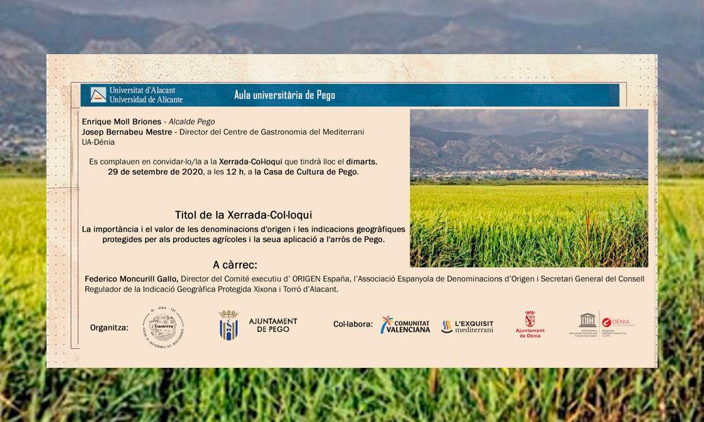 Xerrada-Col·loqui: la importància i el valor de les denominacions d'origen i les indicacions geogràfiques protegides per als productes agrícoles i la seua aplicació a l'arròs de Pego.