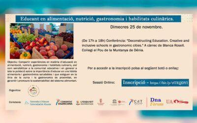Cicle de Conferències Educar en alimentació, nutrició i habilitats culinàries