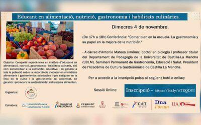 """Conferència: """"Menjar bé a l'escola. La gastronomia i el seu paper en la millora de la nutrició"""""""