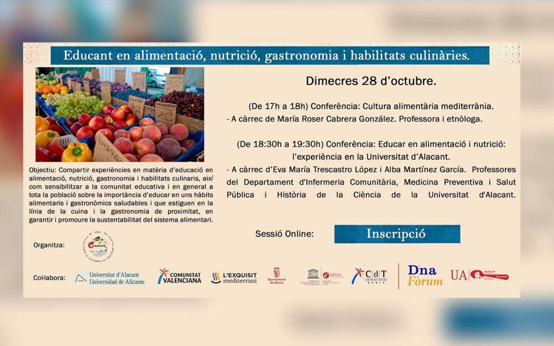 Ciclo de seminarios on-line Educando en alimentación, nutrición, gastronomía y habilidades culinarias.