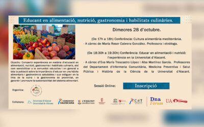 Cicle de seminaris on-line Educant en alimentació, nutrició, gastronomia i habilitats culinàries.