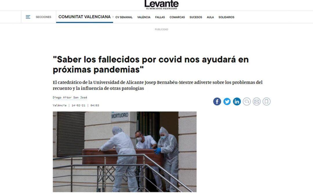 «Saber los fallecidos por covid nos ayudará en próximas pandemias»