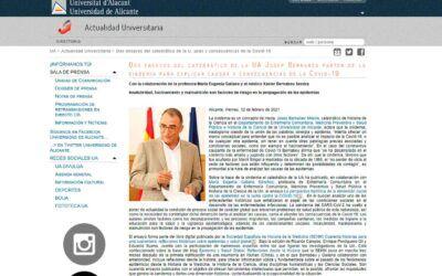 Dos ensayos del catedrático de la UA Josep Bernabeu parten de la sindemia para explicar causas y consecuencias de la Covid-19