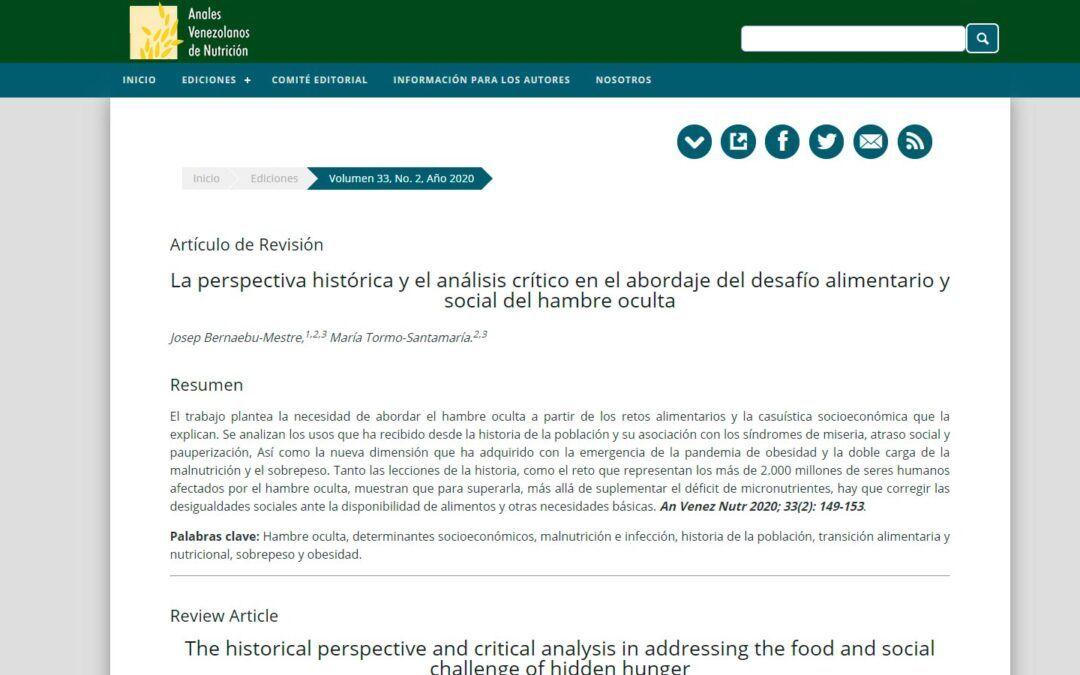 """""""La perspectiva històrica i l'anàlisi crítica en l'abordatge del desafiament alimentari i social de la fam oculta"""""""